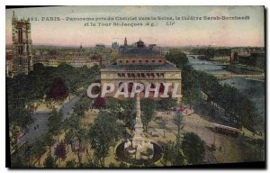 Postcard Old Paris panorama taken from the Seine Chartelet to the Theater Sar...