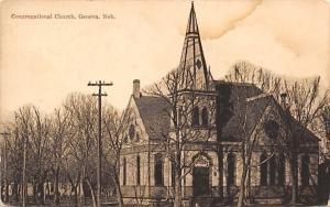 Geneva Nebraska~Congregational Church Thru Barren Trees~1910 PC