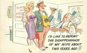 Artist impression 1961 Sexy Woman Lost Wife Comic Humor Cooper Postcard 21-9527
