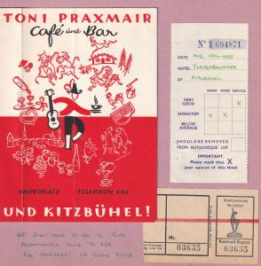 Toni Praxmair Kitzbuhel Cafe Und Bar Hotel Tram Ticket 3x Swiss Receipt s