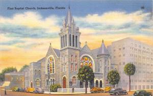Jacksonville Florida~First Baptist Church on Corner~Cross Sign~1930s Cars~Linen