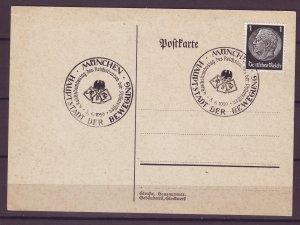 P1674 2 1939 WWII nazi germany postcard wien & munchen cancels hindenburg stamps