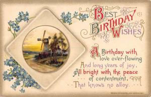 Group Of 4 Best Birthday Wishes Flower Scene Winsch Antique Postcards K98169