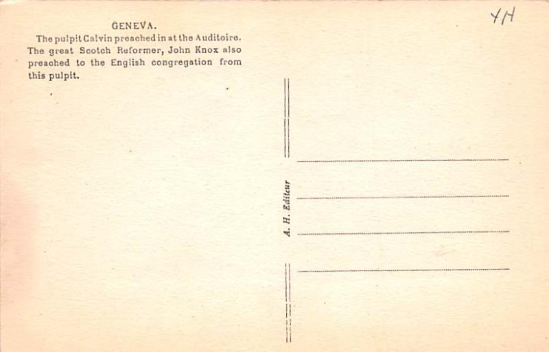 Switzerland Old Vintage Antique Post Card Geneve Calvin's Pulpit and Cha...