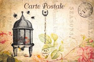 Postcard French Vintage Shabby Chic Style, Bee Hive and Bees, Floral 81J
