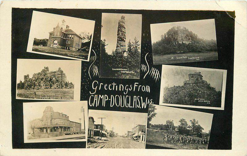 c1910 Camp Douglas Juneau Wisconsin Multi View Street School RPPC Photo Postcard