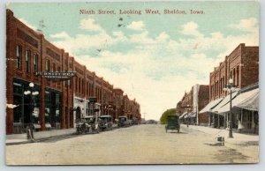 Sheldon Iowa~Ninth Street Looking West~Furniture & Undertaking~Candy Store~1916