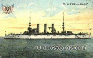 USS Rhode Island Military Battleship 1908 light wear, postal used 1908