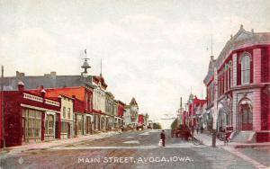 Avoca Iowa~Main Street~Shops & Stores~Man Crosses Street With Toddler~1908 PC
