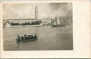 Vtg Postcard 1910s London England Sailors on Boat Thames House of Parliament UNP