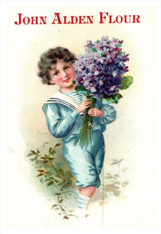Trade Card , John Alden Flour , Boy in Navy suit, Bouquet flowers , Quinebaug...