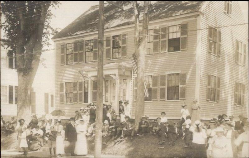Damariscotta ME Crowd & Historic Home c1910 Real Photo Postcard