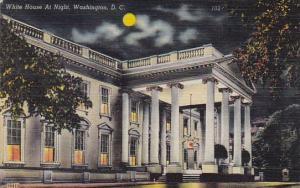 White House At Night Washington DC 1945