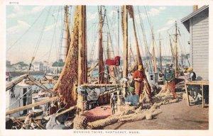 Nantucket Massachusetts fishermen mending twine by Detroit Pub antique pc BB2241
