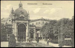 germany, WIESBADEN, Kochbrunnen, Leporello 10 kleine Bilder (1910s)