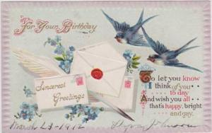 Blue Birds Delivering Birthday Cards 1912