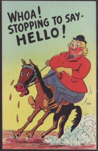 Stopping to Say Hello,Horse,Fat Woman,Comic Postcard