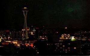 Washington Seattle Skyline At Night