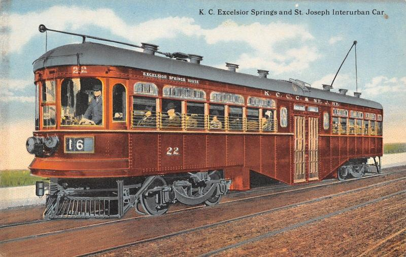 Excelsior Springs Route Missouri~KCCC&StJ Railway~St Joseph Interurban Car~1910