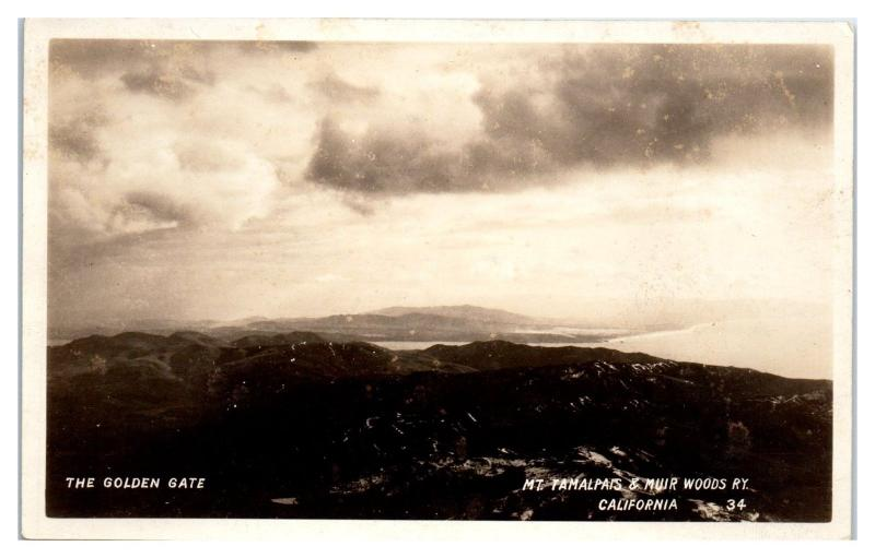 RPPC The Golden Gate, Mt. Tamalpais & Muir Woods Railway, CA Postcard