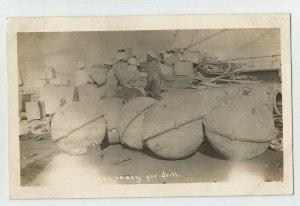 POSTCARD ~ Sailors ~US Navy ~ READY FOR DRILL ~  Sea Mine ? ~ Circa 1909