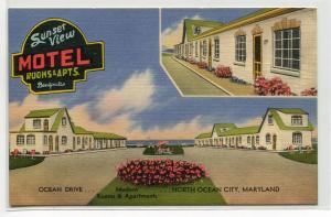 Sunset View Motel Ocean City Maryland linen postcard