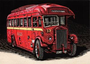 Bus Art Postcard, Leyland Lion LT9 34 Seat Single Deck CMN691, Manx Buses 51S