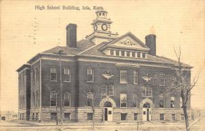 Iola Kansas~High School Building~Double Front Doors Open~Clock Tower~1909 PC