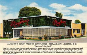 Sumter South Carolina Famous Mayflower Restaurant Vintage Postcard K49625