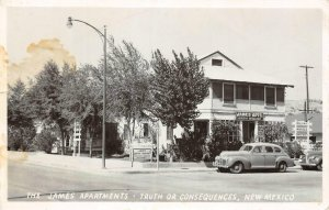 JAMES APARTMENTS Truth Or Consequences, New Mexico RPPC Roadside 1953 Postcard