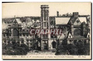 Postcard Old City Hall Paris 1st District and the church St Germain l'Auxerrois