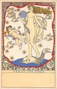 Berthold Löffler Wiener Werkstätte Venus Und Eros Nude Postcard
