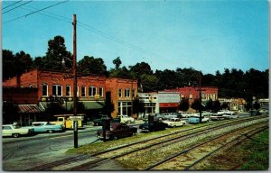 Saluda, North Carolina Postcard MAIN STREET Downtown Scene c1950s Chrome Unused