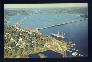 Wiscasset, Maine/ME Postcard, Aerial Of Yacht Club, Sheepscot River, Schooners