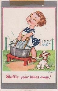 Skiffle Your Blues Away Sing Singing Skiffling Comic Humour Postcard