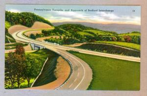 Pennsylvania Turnpike and Approach of Bedford Interchange, unused linen Postcard