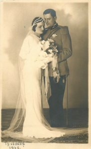 Romania wedding photo postcard military groom bride dated 1935 Targu Mures