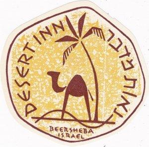 Israel Beersheba Desert Inn Vintage Luggage Label sk2707