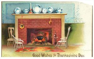 8534   Thanksgiving , Clapsaddle ,   Fireplace