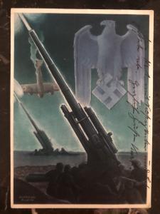 1940 Koblenz Germany feldpost Patriotic Postcard cover Artillery Wehrmacht WW2