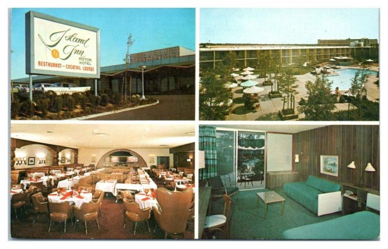 1950s/60s Island Inn Motor Hotel, Westbury, Long Island, NY Postcard