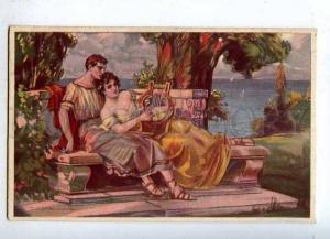 184759 GREECE Lovers LYRE by CORBELLA Vintage ART DECO #441 PC