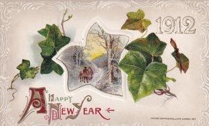 NEW YEAR, 1912; Winter Scene, Leaves