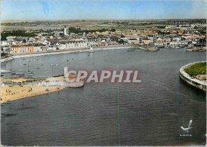Postcard Modern Plane above Croix de Vie (Vendee) The Port