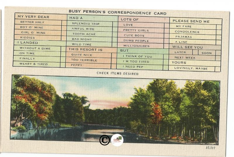 Fun Busy Persons Correspondence Card with River Side Scene Vintage Postcard