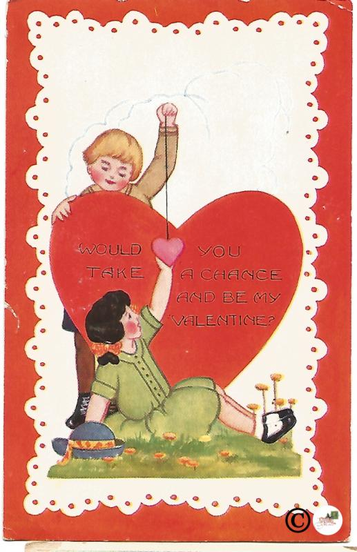 Valentine's Day Postcard Young Couple by Giant Red Heart