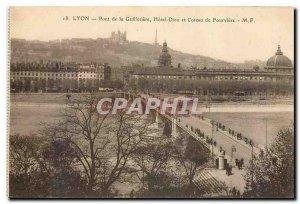 Old Postcard Lyon Guillotiere Bridge Hotel Dieu and Coteau de Fourviere