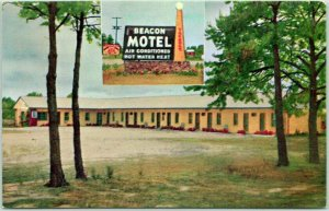 Waynesboro, Georgia Postcard BEACON MOTEL Highway 25 Roadside 1950s Chrome