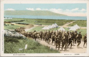 US Army Route Marching WW1 Passed by Censor Unused Sackett Wilhems Postcard F80