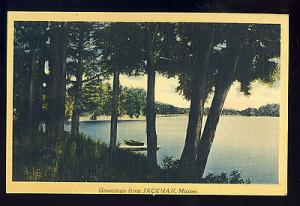 Greetings From Jackman, Maine/ME Postcard, Lake Scene